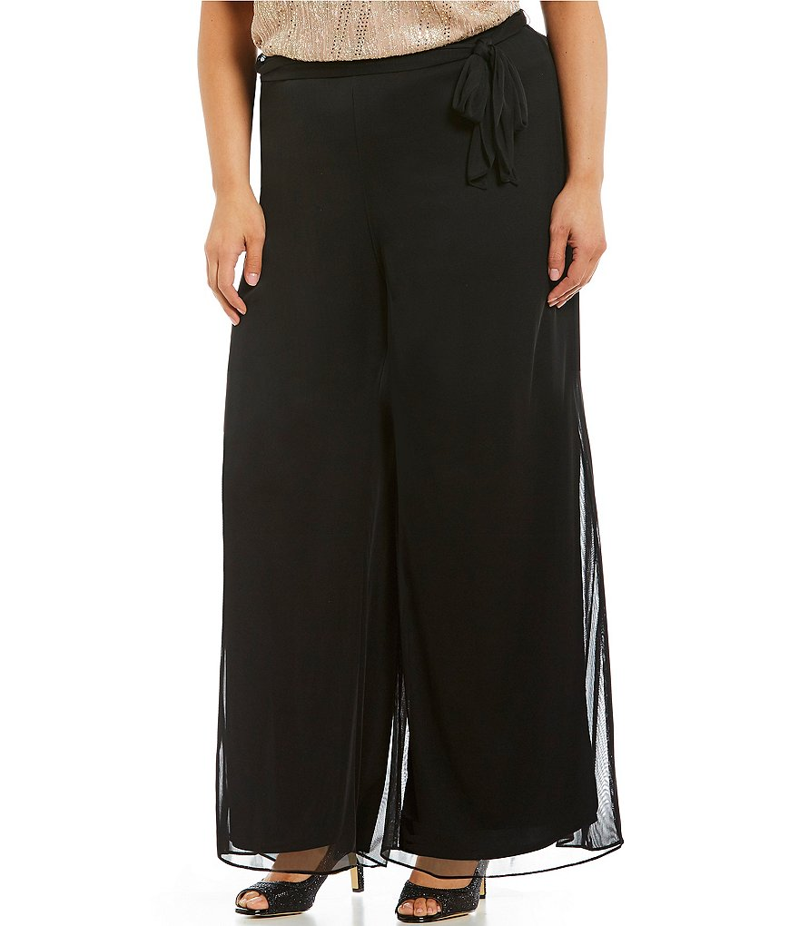 Alex Evenings Plus Tie-Detail Mesh Wide-Leg Pants