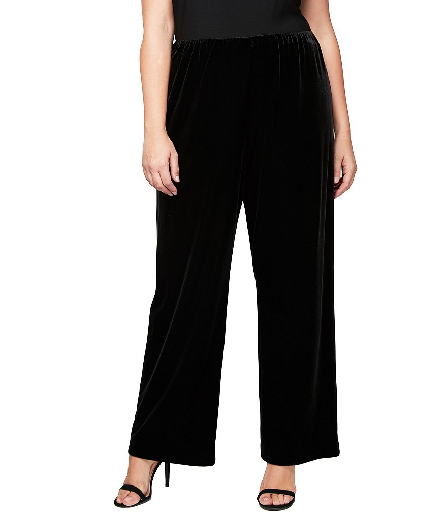 Alex Evenings Plus Velvet Flat-Front Straight-Leg Pants