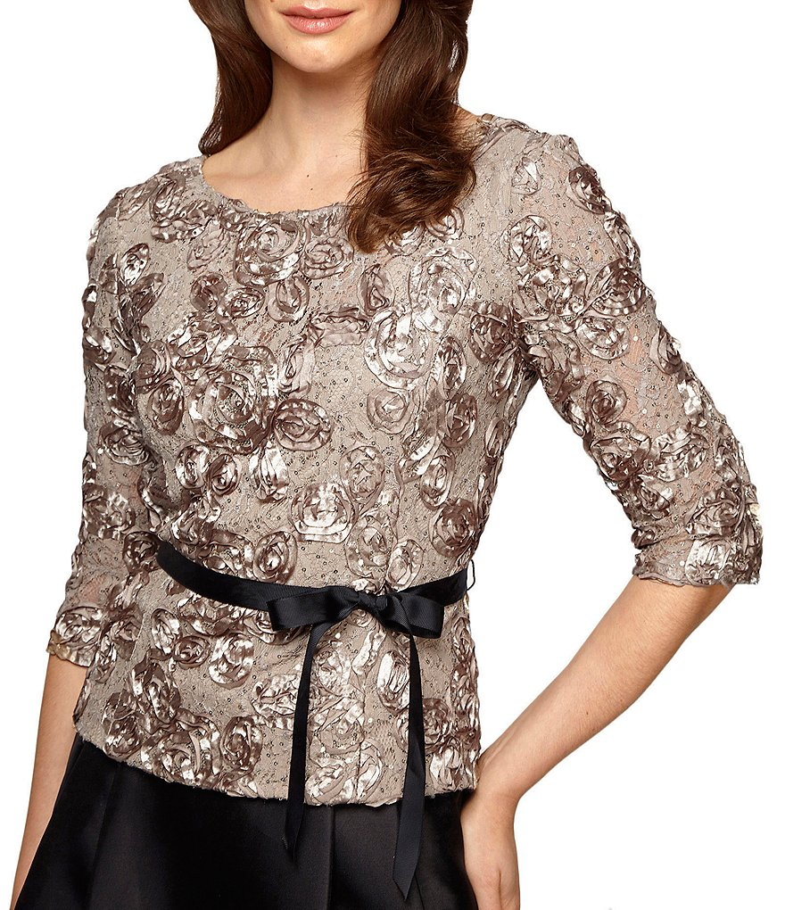 Alex Evenings Rosette-Lace 3/4-Sleeve Top