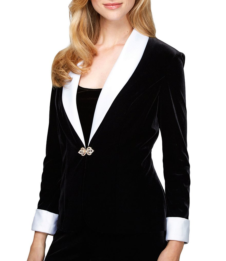 Alex Evenings Satin-Collar Velvet Twinset