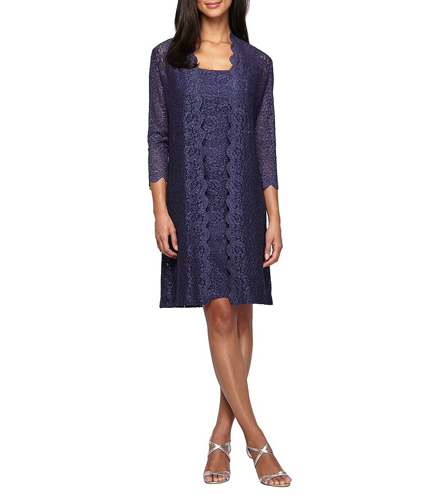 Alex Evenings Scalloped Lace 2-Piece Jacket Dress | Dillards