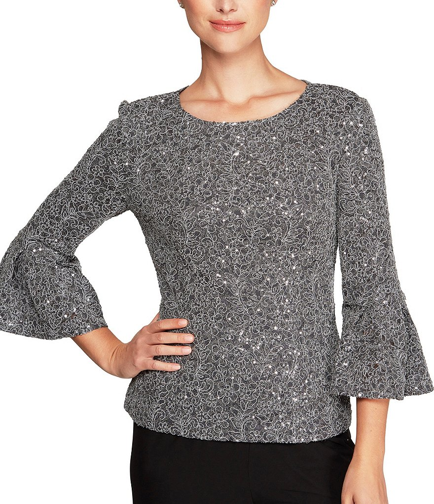 Alex Evenings Sequin Lace Bell Sleeve Blouse