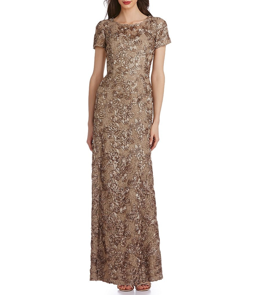 Alex Evenings Sequined-Lace Rosette-Rose Gown | Dillards