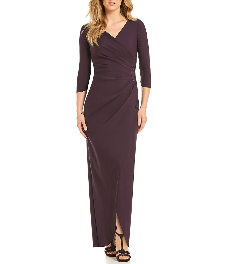 Alex Evenings Surplice V-Neck Bead Trim Ruched Dress