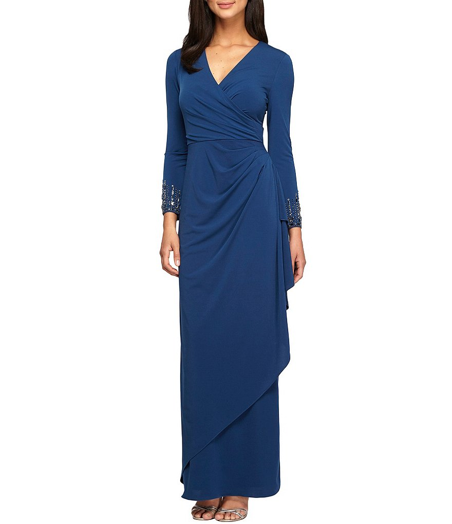 Alex Evenings Surplice V-Neck Beaded Sleeve Draped Gown