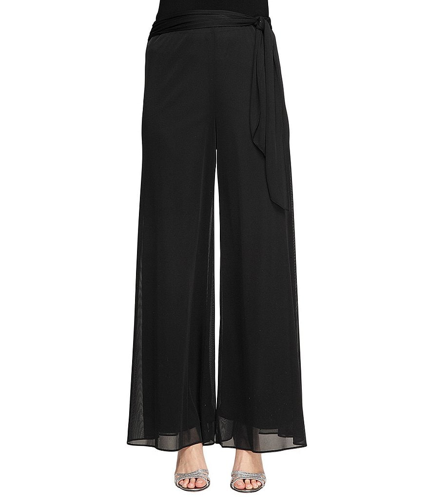 Alex Evenings Tie Waist Wide Leg Pant
