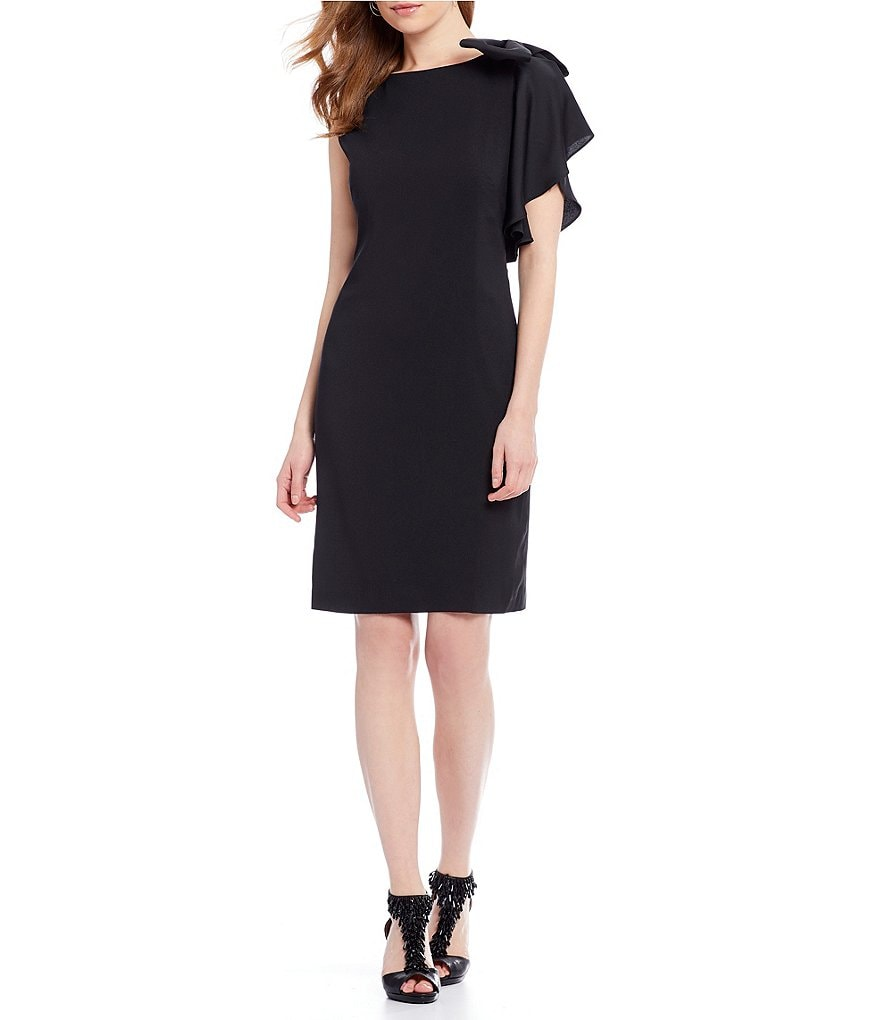 Alex Marie Hampton Satin Crepe Dress with Bow Shoulder