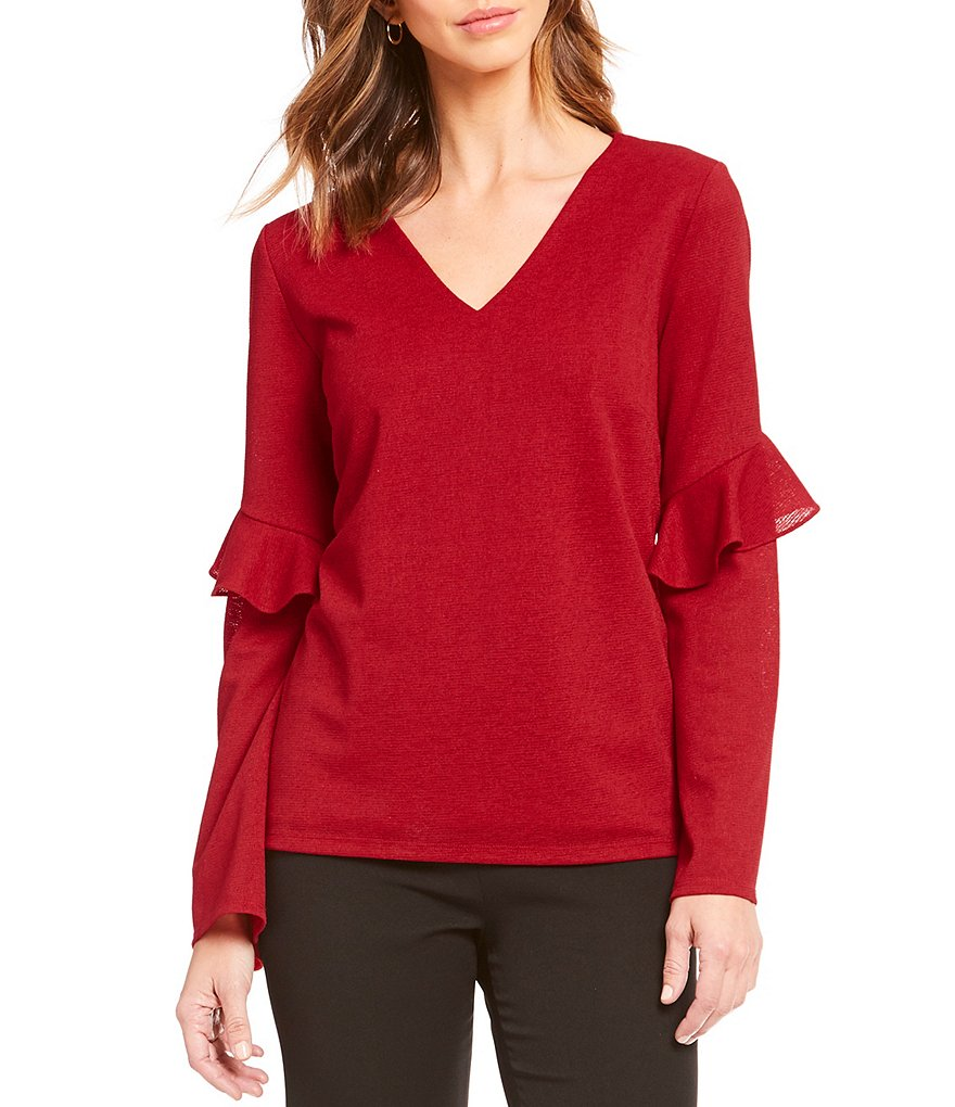 Alex Marie Joise Knit Ruffle Bell Sleeve Top