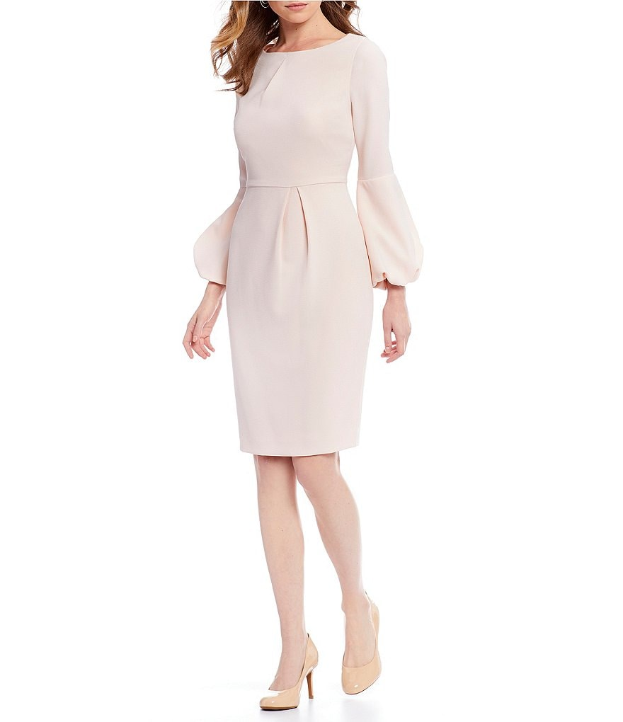 Alex Marie Olivia Blush Pink Bubble Bell Sleeve Sheath Dress