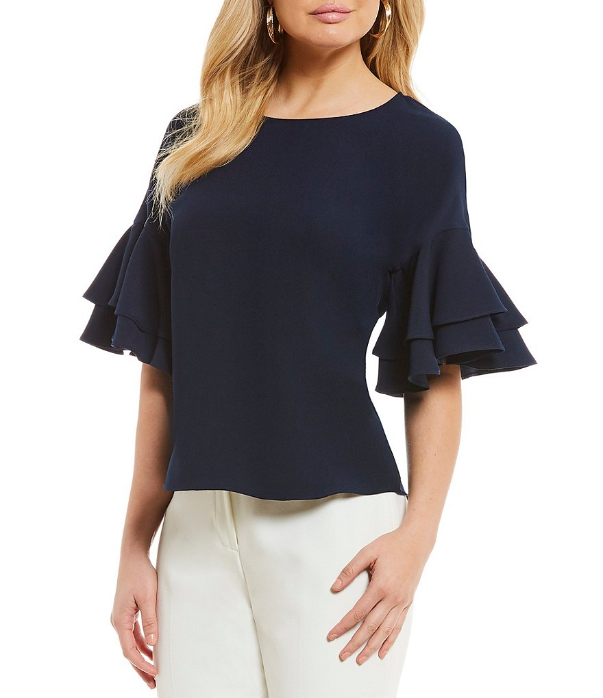 Alex Marie Sammi Tiered Ruffle Sleeve Blouse