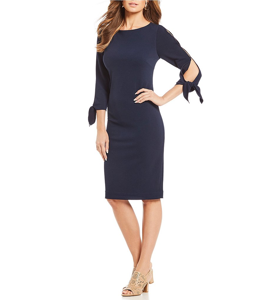 Alex Marie Shaggy Knit Dress with Tie Sleeve Detail