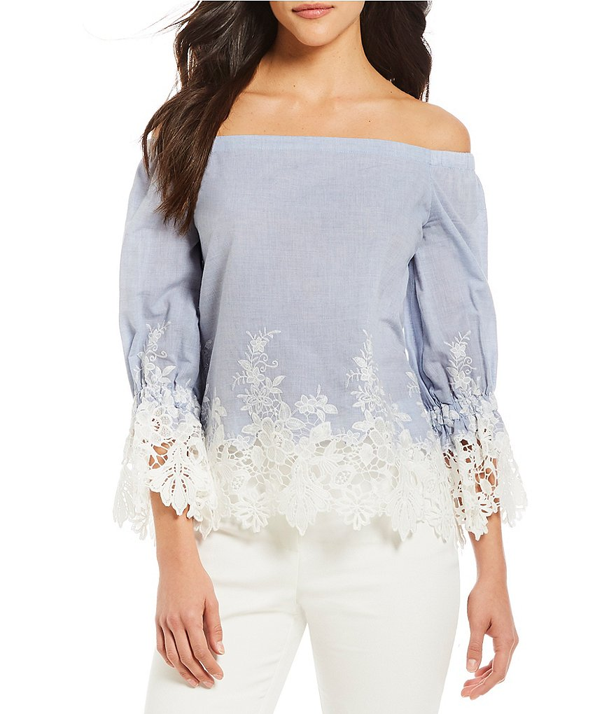Alex Marie Vanessa Off-The-Shoulder Lace Embroidered Blouse