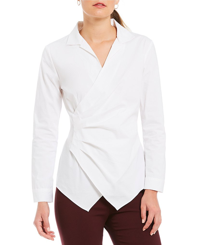 Alex Marie Winifred Side Ruched Collared Novelty Shirting Blouse