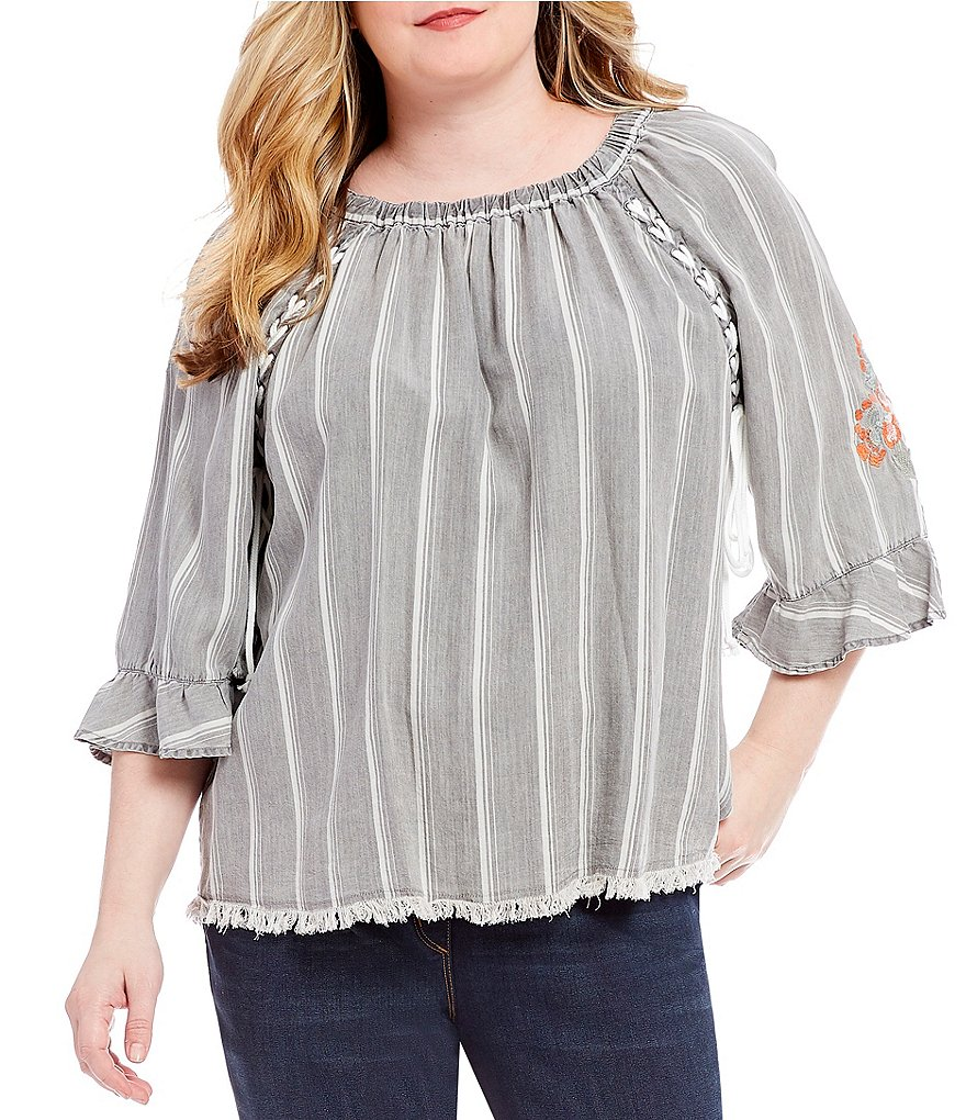 Ali Miles Plus 3/4 Sleeve High-Low Striped Tencel Lacing Detail Top