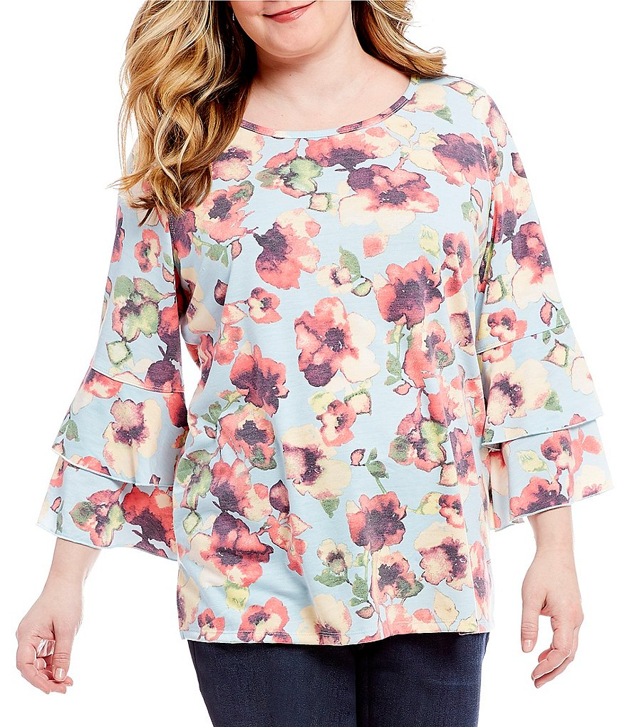 Ali Miles Plus Double Flounce Sleeve French Terry Top