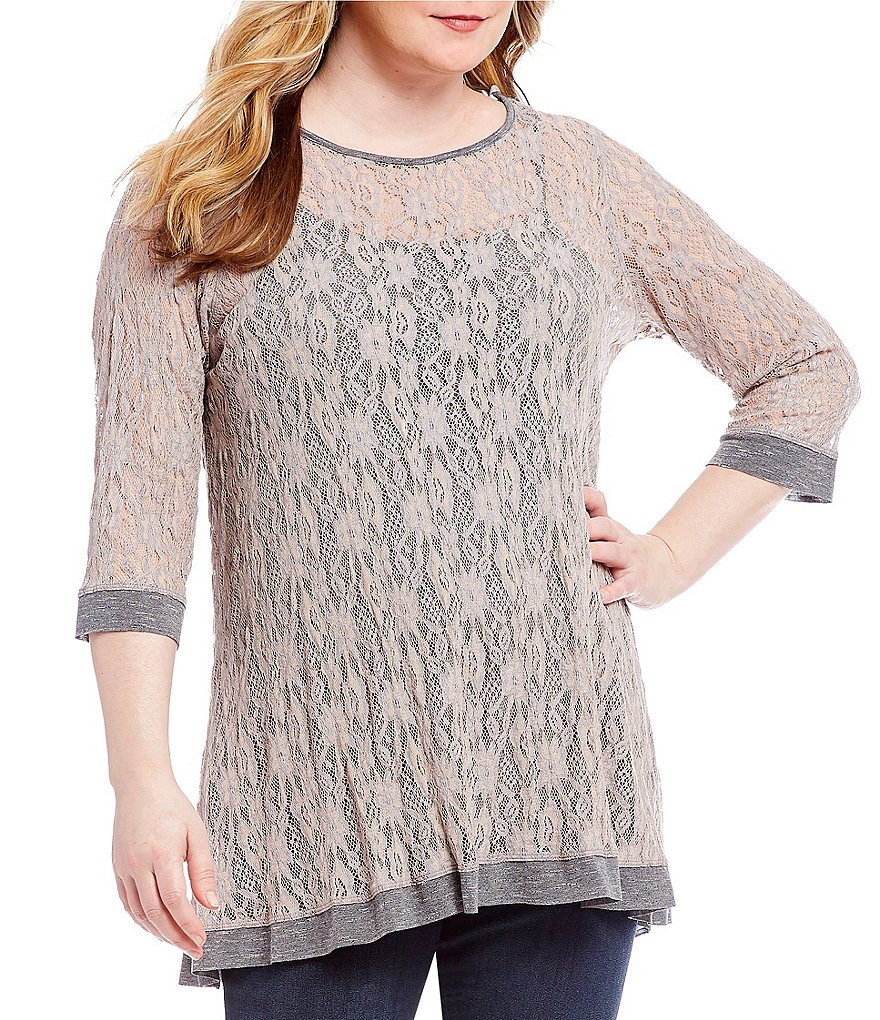 Ali Miles Plus Elbow Sleeve Solid Lace Top
