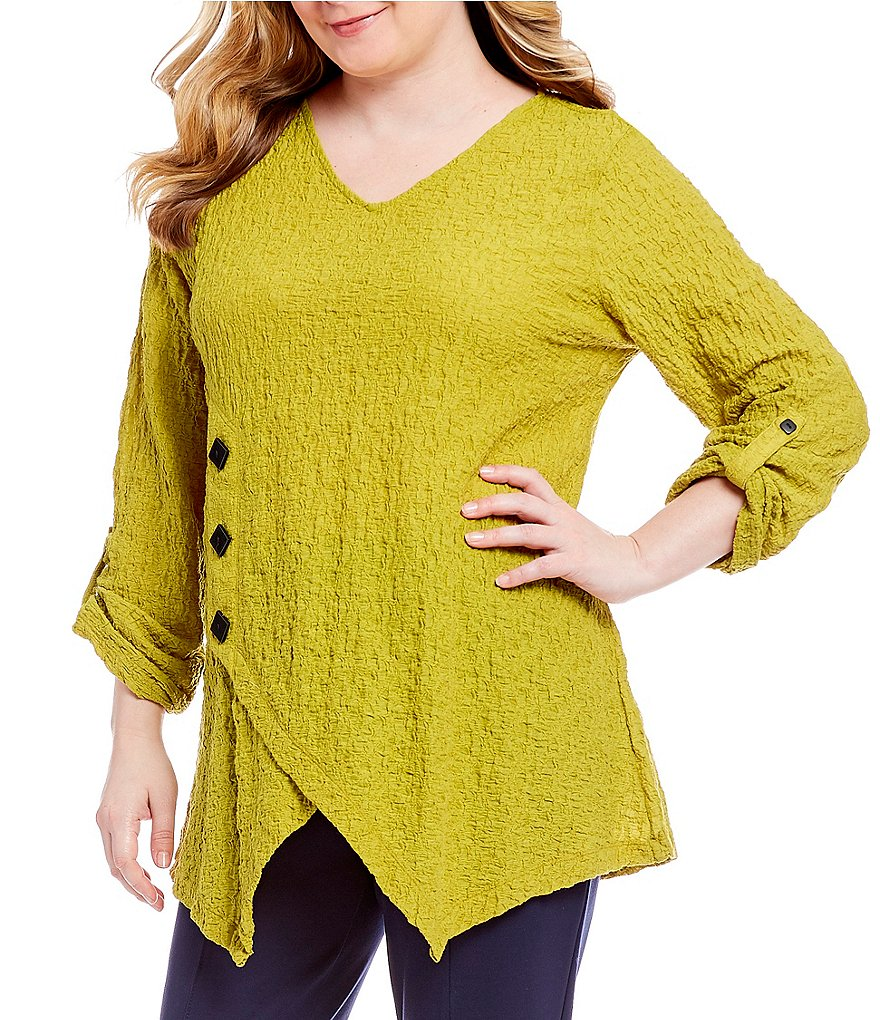 Ali Miles Plus Long Sleeve Textured Knit Solid Top