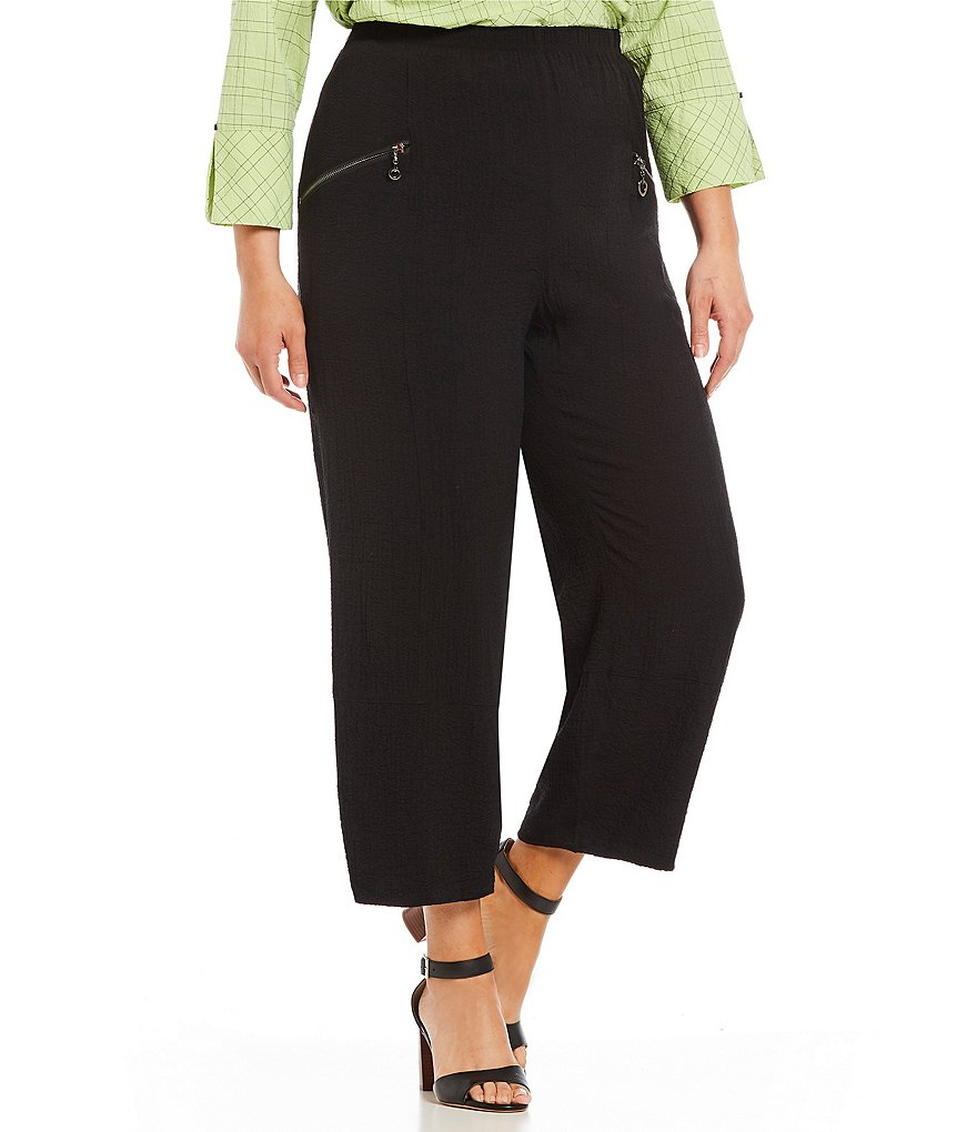 Ali Miles Plus Solid Crinkle Pucker Pull On Ankle Pant