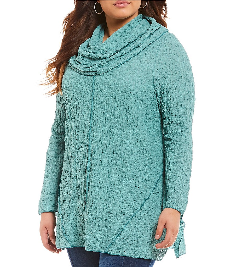 Ali Miles Plus Textured Cowl Tunic