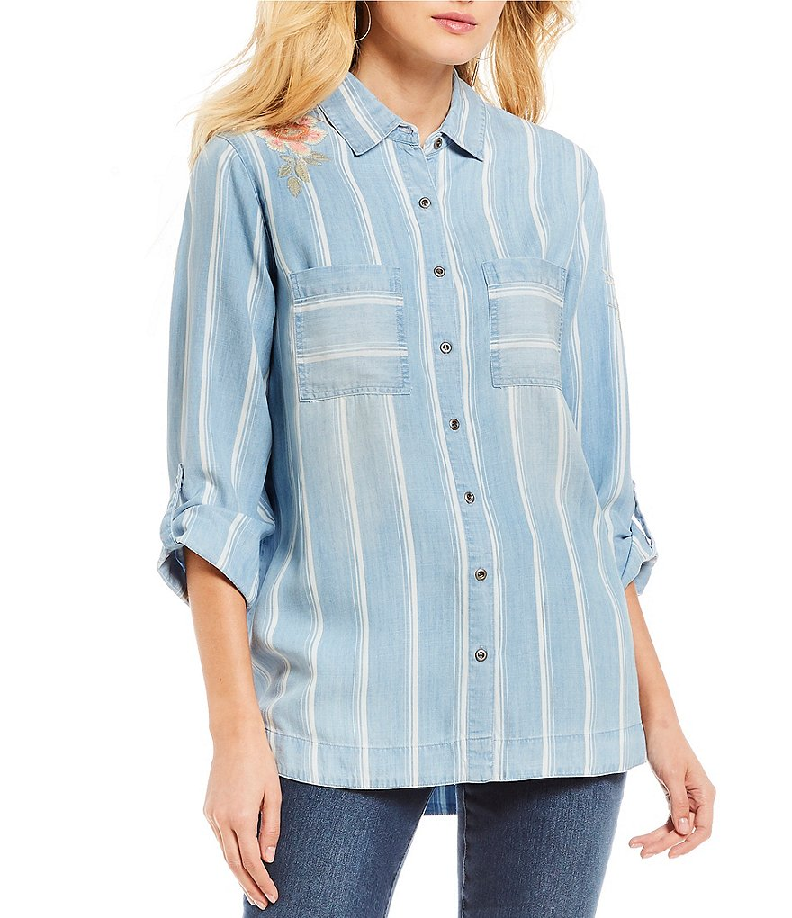 Ali Miles Roll-Tab Sleeve Striped Embroidered Tencel Shirt