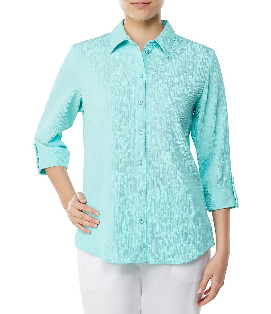 Allison Daley 3/4 Roll-Tab Sleeve Pucker Weave Button Front Shirt
