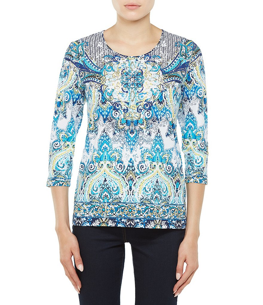 Allison Daley 3/4 Sleeve Crew Neck Printed Knit Top