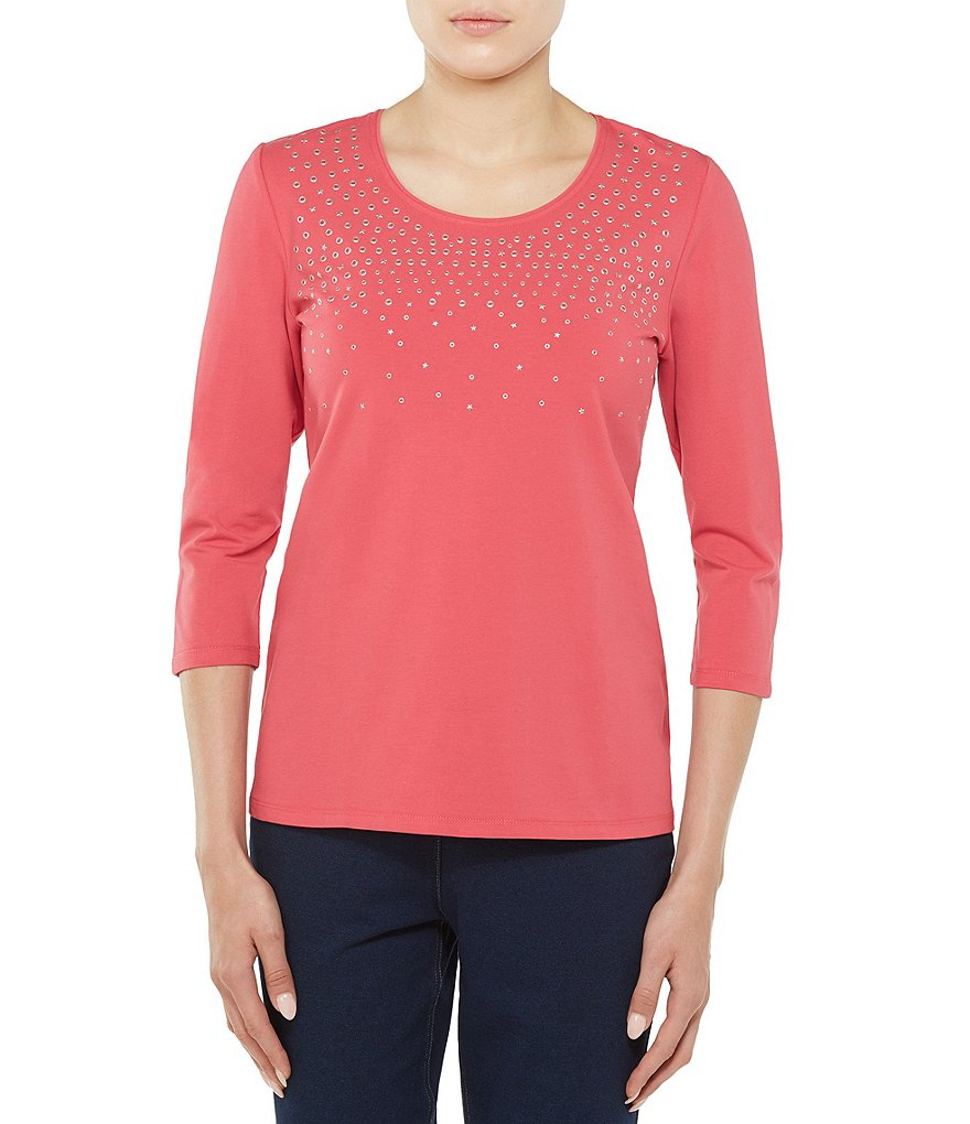 Allison Daley 3/4 Sleeve Embellished Knit Top