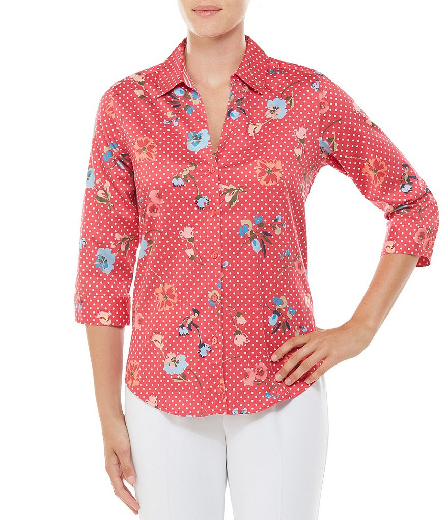 Allison Daley 3/4 Sleeve Floral Dot Print Button Front Shirt