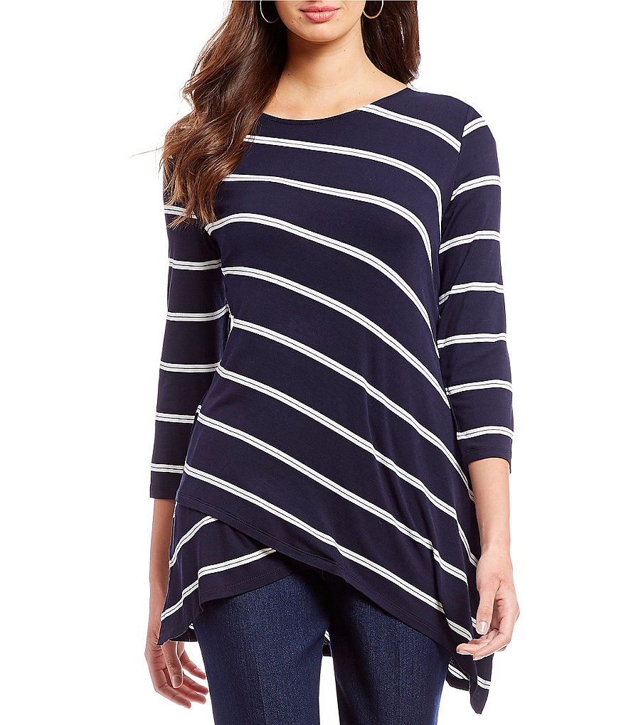 Allison Daley 3/4 Sleeve Layered Front Stripe Print Tunic