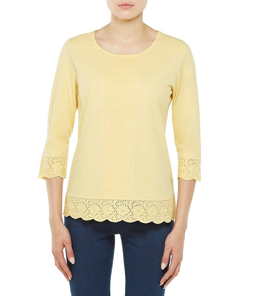 Allison Daley 3/4 Sleeve Scalloped Lace Trim Solid Knit Top