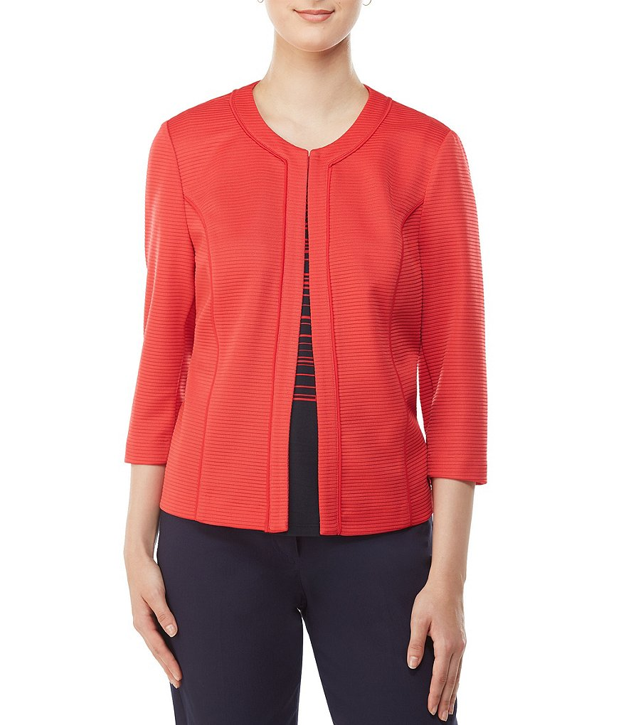 Allison Daley 3/4 Sleeve Textured Solid Jacket