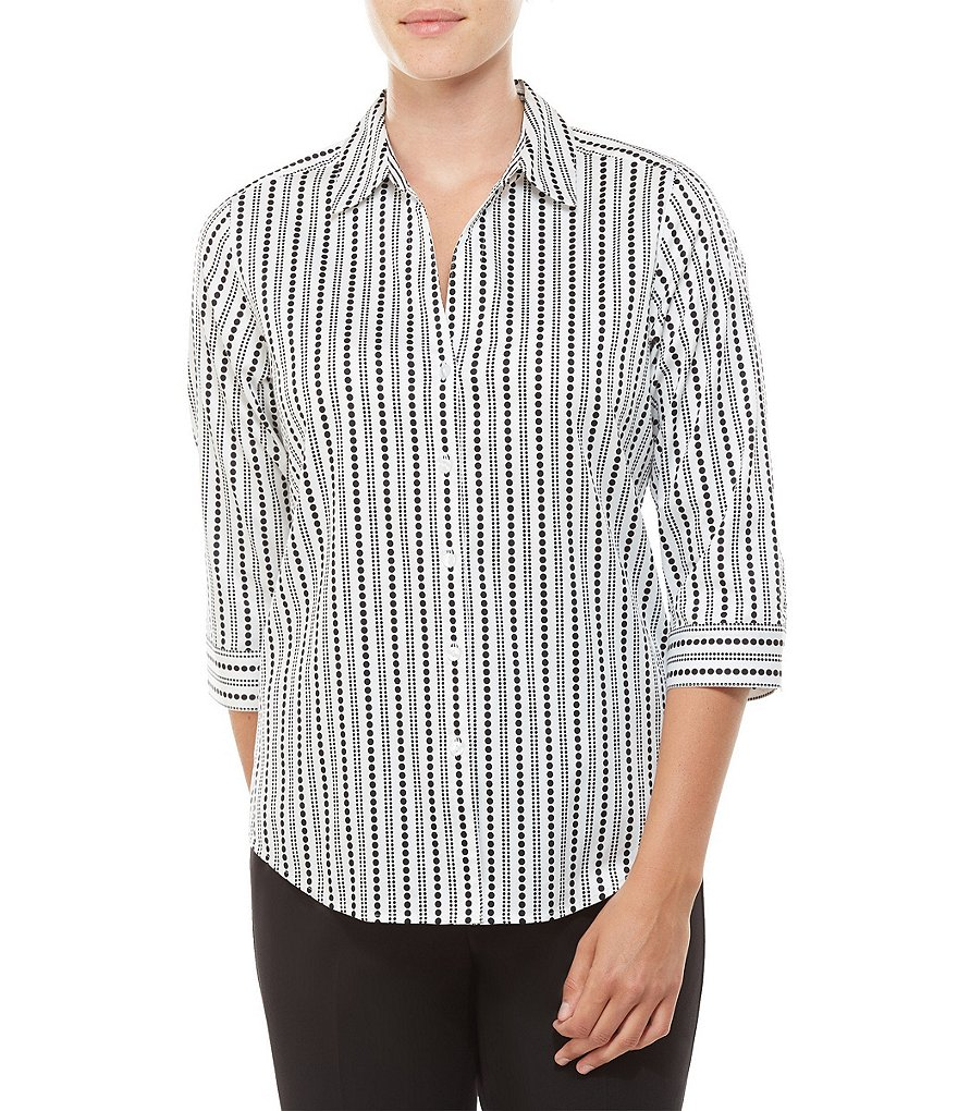 Allison Daley 3/4 Sleeve Vertical Dot Print Button Front Shirt