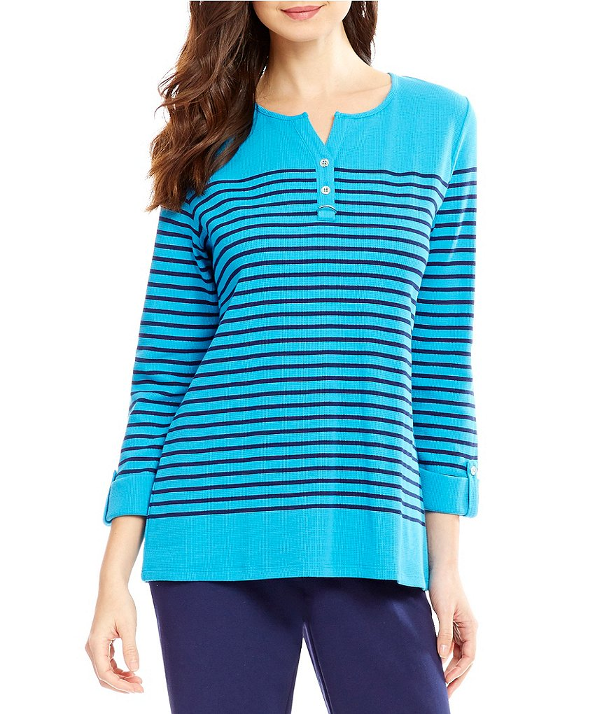 Allison Daley 3/4 Sleeve Waffle Knit Henley Top