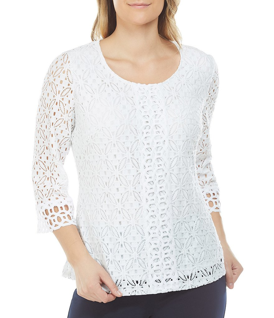 Allison Daley Bell Sleeve Lace-Crochet Overlay Blouse