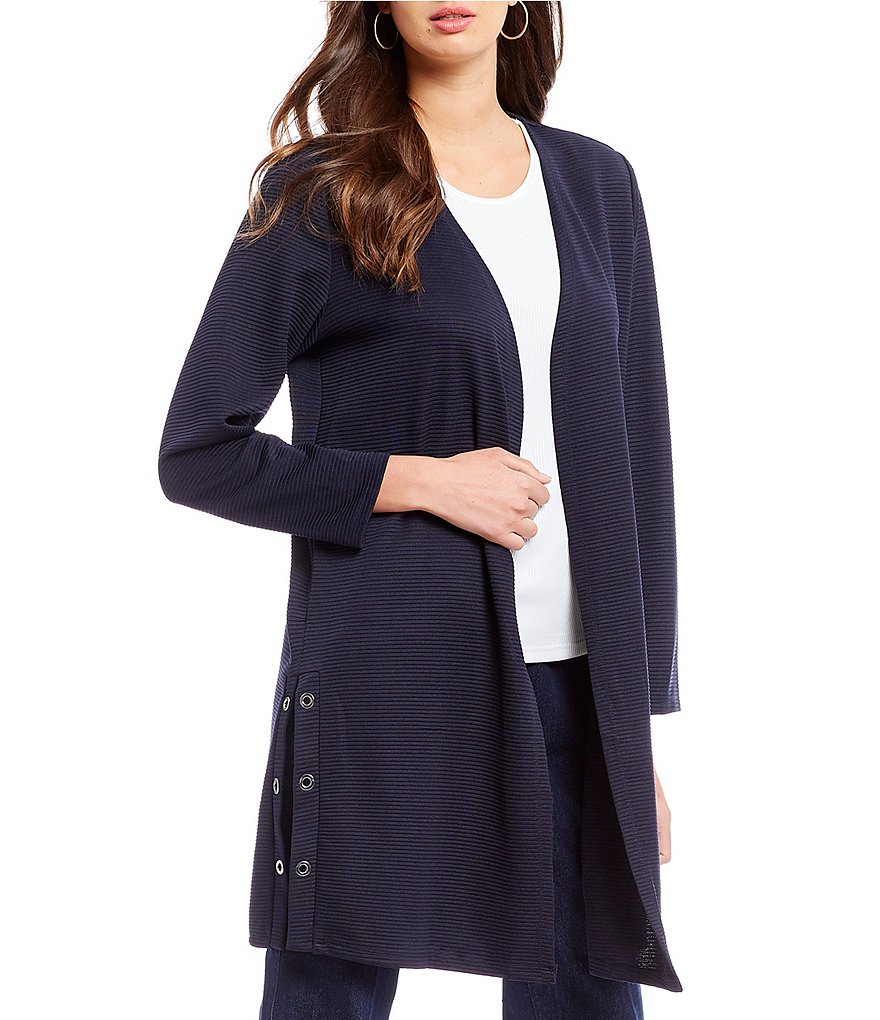Allison Daley Button Detail Side Slit Open Front Cardigan