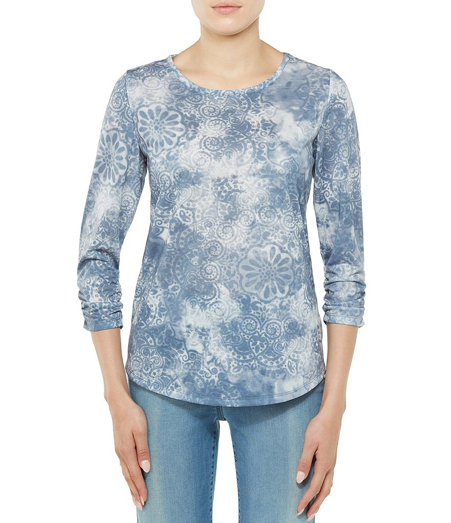Allison Daley Crew Neck Printed 3/4 Sleeve Knit Top