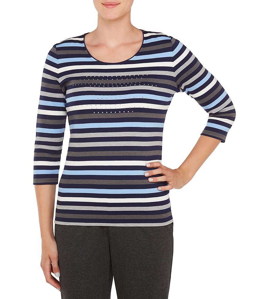Allison Daley Embellished Stripe Print 3/4 Sleeve Knit Top