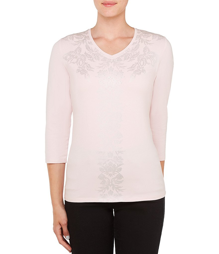 Allison Daley Embellished V-Neck 3/4 Sleeve Foil Detail Knit Top