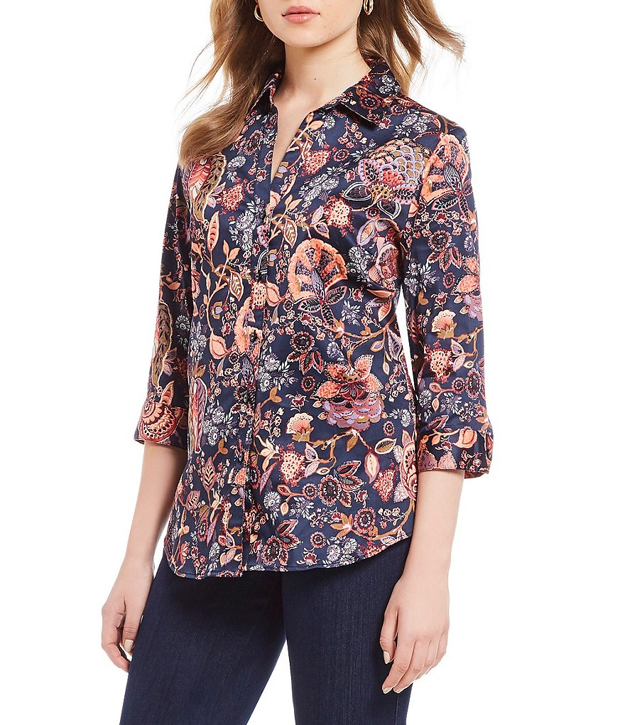 Allison Daley Floral Print Button Front Sateen Shirt