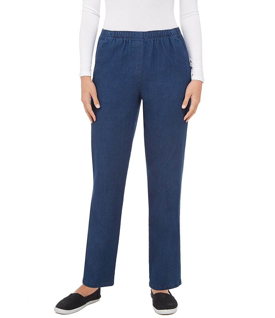 Allison Daley Mock-Fly Pull-On Denim Pants