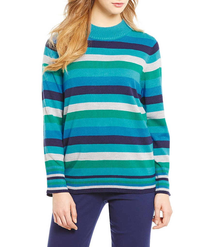 Allison Daley Mock Neck Long Sleeve Stripe Print Pullover
