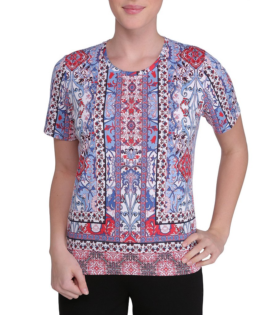 Allison Daley Petite Embellished Printed Knit Top