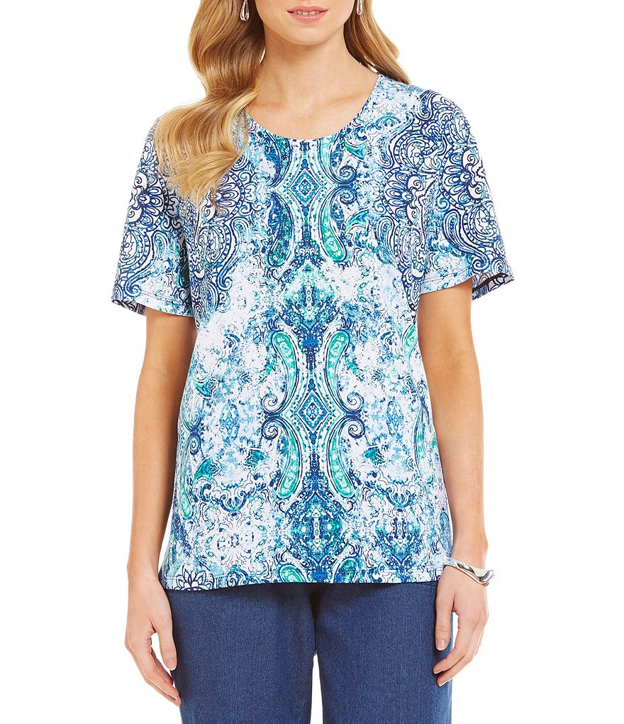 Allison Daley Petite Medal Print Embellished-Neck Short Sleeve Knit Top