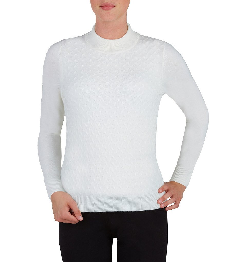 Allison Daley Petite Mock Neck Solid Pullover