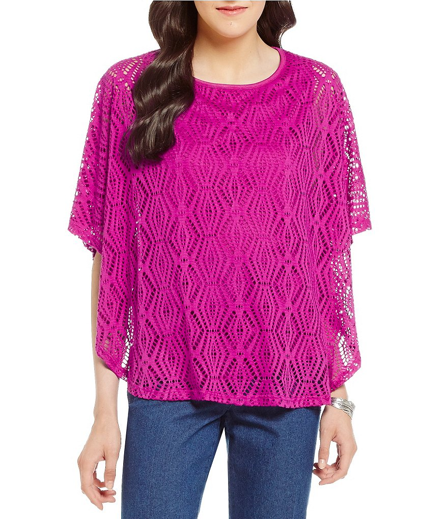 Allison Daley Petite Scoop-Neck Solid Honeycomb Crochet Knit Poncho Top