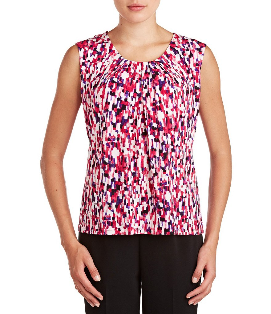Allison Daley Petite Sleeveless Printed Scoop Neck Knit Top