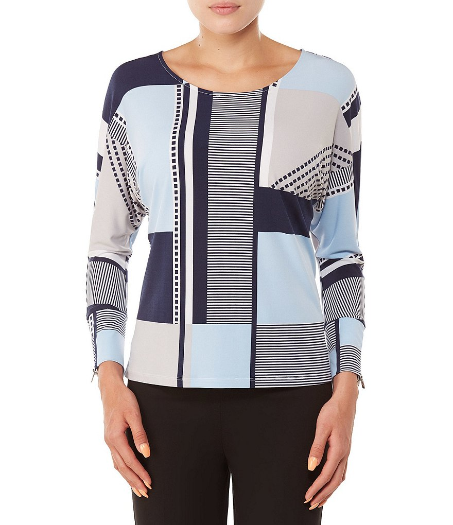 Allison Daley Petites 3/4 Dolman Sleeve Block Mix Print Top