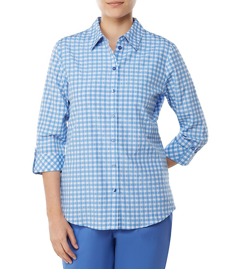 Allison Daley Petites 3/4 Roll-Tab Sleeve Crinkled Gingham Button-Front Shirt