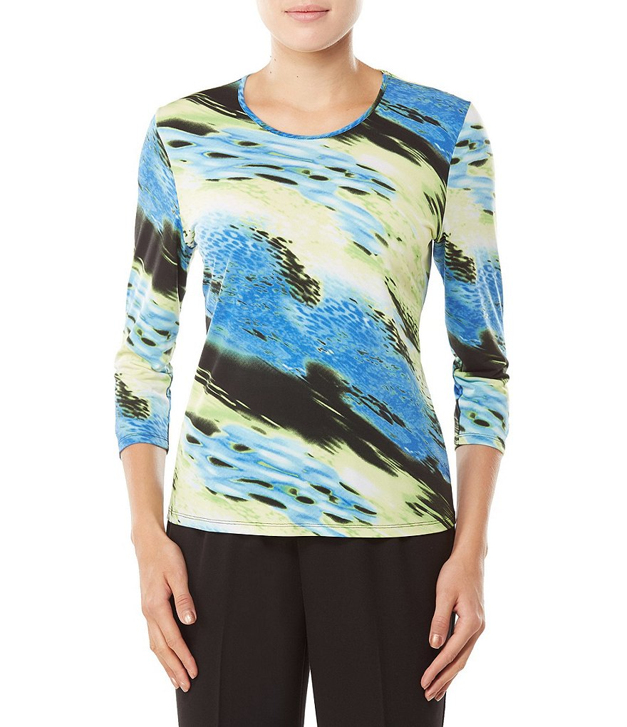 Allison Daley Petites 3/4 Sleeve Diagonal Abstract Print Knit Top