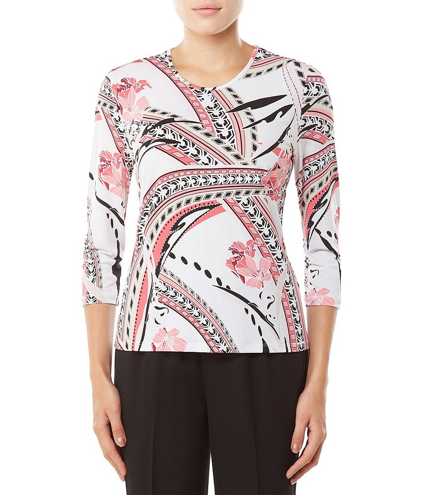 Allison Daley Petites 3/4 Sleeve Geo Floral Print Knit Top
